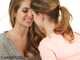 Young horny teen lesbians have a nice time.