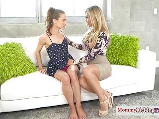 Stunning stepmom licking sweet teen pussy