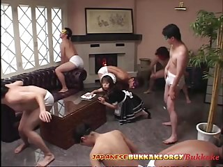 Japanese Maid uses her Mouth for cleaning – Japanese Bukkake